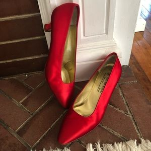 Bruno Magli Satin Red Heels Size 8